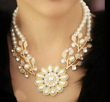 Charm Jewelry Crystal Pearl Flower Bib Choker Chunky Statement Collar Necklace
