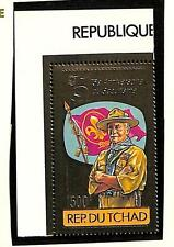 CHAD SCOTT #412A PERF & IMPERF GOLD FOIL STAMP BOY SCOUTS MNH VF 1982