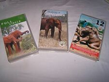 3 x VHS Elephant film from Care for the wild