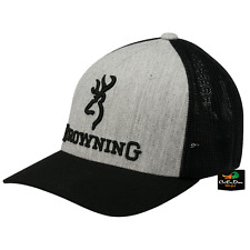 NEW BROWNING BRANDED MESH BACK FLEX FIT HAT BALL CAP BUCKMARK LOGO HEATHER LG/XL
