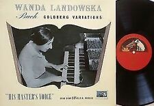 "WANDA LANDOWSKA Goldberg Variations ""Rare"" !!! first UK copy ALP 1139 MONO"