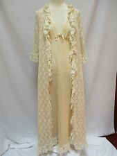 Vtg Frilly VIRGINIA WALLACE Ivory Chiffon Lace Peignoir Set Nightgown Robe 4-6