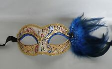 Mardi Gras Blue Feather Masquerade Mask NEW - Express Post Option Available