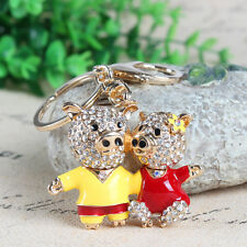 Lovely Double Lover Pig Flower Pendant Crystal Purse Bag Keychain Wedding Gift