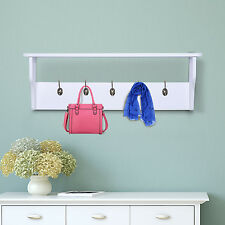HOMCOM Wall Mount Entryway Shelf Coat Hat Rack Wood Holder Hanger w/ 5 Hooks