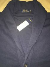 Men's Polo Ralph Lauren Large Navy Blue Cardigan Sweater Nwt