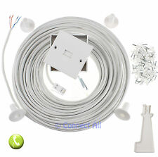 40M WHITE BT VIRGIN MEDIA INDOOR TELEPHONE 431A EXTENSION PLUG IN CABLE KIT