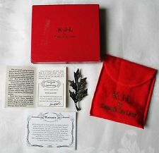 KJL by Kenneth Jay Lane Pave Leaf Pin Brooch witn Box Pouch Papers