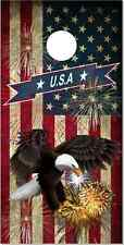 American Flag Eagle Fireworks LAMINATED Cornhole Wrap Bag Toss Skin Decal