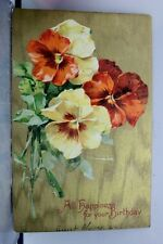 Greetings All Happiness for Your Birthday Postcard Old Vintage Card View Post PC