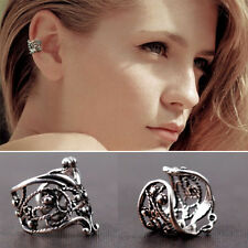 Flower Ear Cuff Wrap Wrap Ear Clips Cartilage Earrings No Piercing Silver Hollow