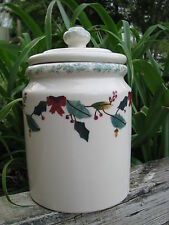HARTSTONE POTTERY  CANISTER COOKIE JAR CHRISTMAS HOLLY LARGE 5 LB SIZE STONEWARE