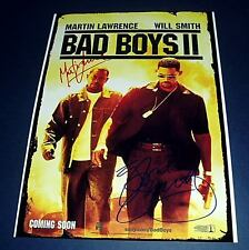 BAD BOYS II CAST x2 PP SIGNED POSTER 12X8 WILL SMITH