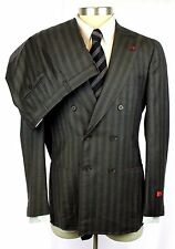 NWT ISAIA Dustin Charcoal Stripe Super 130's DB Flat Front Suit 46 36 36R $3595!