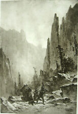 APACHE CHEROKEE INDIAN BRAVE FIGHTS GRIZZLY BEAR IN CANYON w GUN, 1888 Art Print
