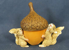 Squirrels Carrying an Acorn Trinket Box Whimsical Fairy Garden Collection