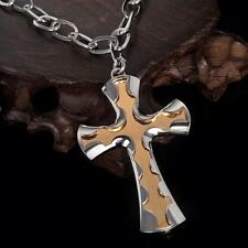 Men's Stainless Steel Church Cross Pendant Necklace Chain 30 inches