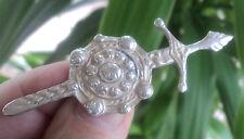 Silver Scottish Iona Celtic Sword & Shield Brooch / Kilt Pin c.1940/50s