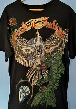 Christian Audigier Signature Cotton T-Shirt - Bird Skull Graphic Rhinestones XL