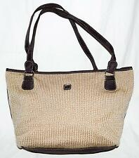 Lina Beige Crochet Knit with Dark Brown Fabric Trim Shoulder Bag