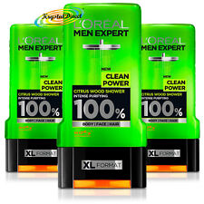 3x Loreal Men Expert Shower Gel Clean Power Citrus Wood, Intense Purifying 300ml