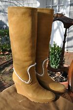 NEW GUCCI LAMBSKIN SHEARLING WEDGE BOOTS TAN BROWN KNEE HIGH US 8.5  $1295 ITALY