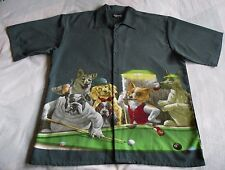"Dragonfly Clothing Co XXL ""The Hustler"" Dogs Playing Pool Button Up Camp Shirt"