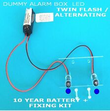 Decoy Flashing Switched- Dummy Alarm Kit (Blue LEDs) Fixing Kit inc -10 Yr Batt