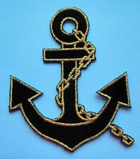PRETTY CUTE BLACK GOLDEN ANCHOR Embroidered Iron on Patch Free Postage