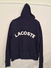 Lacoste �� Mens Jacket Pullover SZ. 5 Full zip Hooded Embroided Back Navy EUC