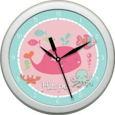 "Personalized Under the Sea Girl  Nursery Decore 10.75"" Wall Clock Bathroom Gift"