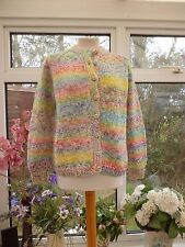 GORGEOUS *HAND KNITTED* RAINBOW COLOURED MARL KNITTED WOOL? CARDIGAN Sz M
