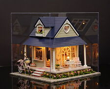 Kits Wood Dollhouse Miniature DIY House with Furniture+Cover Gift Bicycle Angel