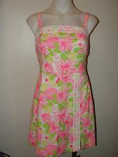 NEW LILLY PULITZER*PRETTY!!HAVANA COCKTAIL PINK&GREEN FLORAL RESORT LACE DRESS*2