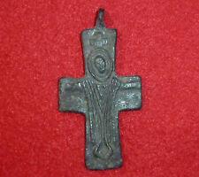 CROCE BIZANTINA BRONZO ANTICO-Amuleto/Ciondolo intorno al 1000-1100 ad -4002