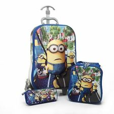 Children 3D Minion Hand Luggage Cabin Trolley Suitcase Travel Bag Kids Blue