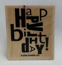 Stampin' Up 2006 Alphabet Soup Wood Mount Rubber Stamp Happy Birthday Only