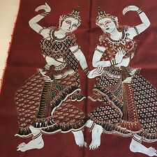 Thai Siam dancer temple silk Painting Art Not framed Indonesia Thailand vintage
