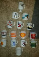 15 VINTAGE MILK GLASS COLLECTABLE MUGS FIRE KING FEDERAL GLASS FREE SHIPPING