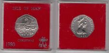 ISLE OF MAN - 50 PENCE BU COIN 1980 YEAR CHRISTMAS KM#71 COACH HORSES SHIP CASE
