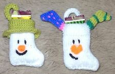 KNITTING PATTERN - Snowman and Snowdog 8 cms Christmas stocking decoration