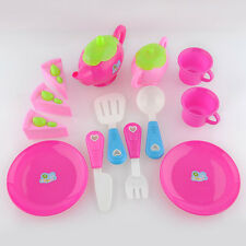 1x Set Plastic Preschool Pretend Play Toy Set Afternoon Tea Dishes Food Teapot
