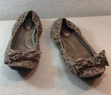 ME TOO 'Loom' Ballet Flats Animal Print Leather Brown Black Size 6.5M