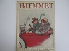 Beautiful old magazine cover: Man and woman in elegant open car