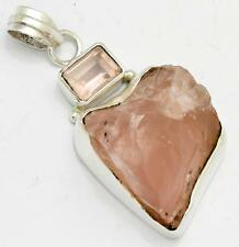 36.0Cts Huge Rough Rose Quartz, Rose Quartz Pendant 925 Silver Jewelry IP24823