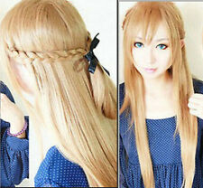 "28"" Fashion Asuna Yuuki Braided Long Straight Cosplay Wig Full Wigs New+Cap"