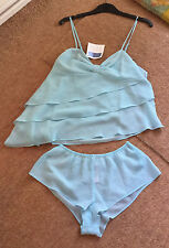 Frilled Chemise & French Knickers. Blue Chiffon . Size 10-12. From Avon.