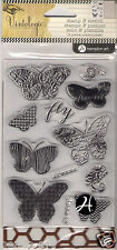 Vintologie Hampton Art 13 clear rubber stamps and stencil Butterflies Butterfly