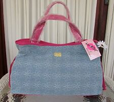 Luv Betsey Johnson Denim Jeans Daisy Tote Quilted Shoulder Bag Large Diaper NWT