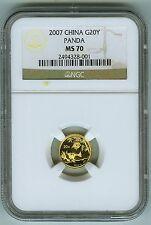 2007 China Gold Panda 20 Yuan NGC MS 70.  Registry Set Coin!
